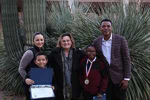 Carrillo students won award for artwork that was chosen for Ward 5 Richard Fimbres Safety calendar. Remi Mwamba and Gerardo Cruz honored at City Council meeting last night. Picture from Sunnyside photographer!