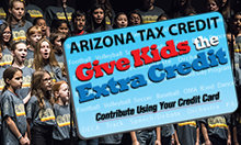 Photo of Performing Students with Arizona Tax Credit logo - Give Kids the Extra Credit