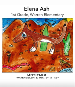Elana Ash - 1st Grade, Warren Elementary, Watercolor and ink drawing of coyoto on desert landscape