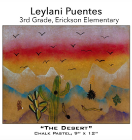 Leylani Puentes - 3rd Grade, Erickson Elementary, pastel drawing on colored paper of orange sunset and blue and purple mountains with saguaro and prickly pear and ravens in the sky