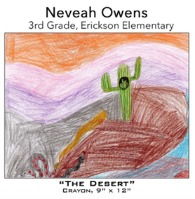 Neveah Owens - 3rd Grade, Erickson Elementary, crayon drawing of saguaro and snake with purple mountains and orange sky