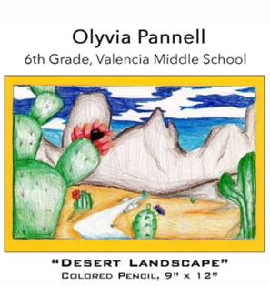 Olyvia Pannell - 6th Grade, Valencia Middle School, colored pencil drawing of prickly paear and Tucson Mountains against clouds in blue sky