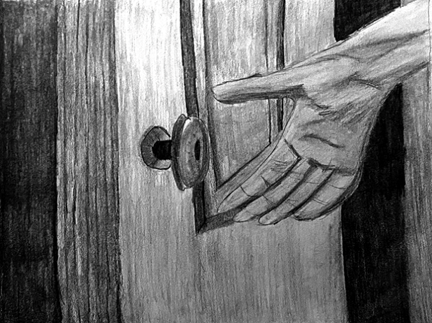 Graphite drawing of a hand reaching toward a doorknob