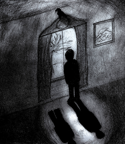 The shadow of a man standing at the window looking out