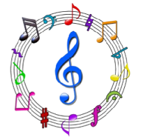 Circle of musical staff with notes and clef signs
