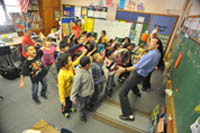 first graders dancing