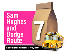 Sam Hughes and Dodge Route - Please click here for a list of all delivery stops