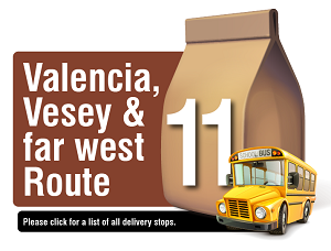 Valencia, Vesey, and Far West Route - Please click here for a list of all delivery stops