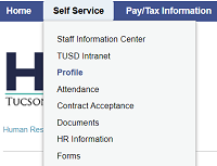 screenshot of Self Service tab and Profile option