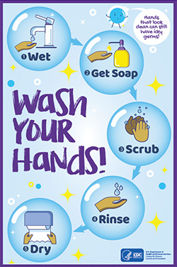 Wash Your Hands! 1-Wet. 2-Get Soap. 3-Scrub. 4-Rinse. 5-Dry