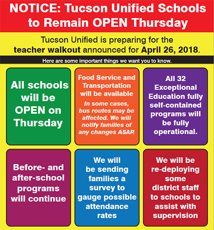 Tucson Unified is preparing for the teacher walkout announced for April 26, 2018. Here are some important things we want you to know. All schools will be open on Thursday.Food Service and Transportation will be available. In some cases, bus routes may be affected. We will notify families of any changes ASAP. All 32 Exceptional Education fully self-contained programs will be fully operational. Before- and after-school programs will continue. We will be sending families a survey to gauge possible attendance rates. We will be re-deploying some district staff to schools to assist with supervision.