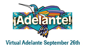Adelante hummingbird logo with Virtual Adelante September 26th