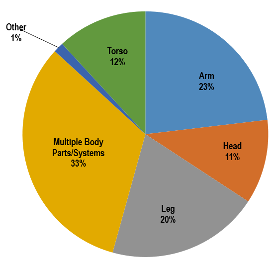 Multiple body parts or systems - 33%, Leg - 20%, Head - 11%, Arm - 23%, Torso - 12%, Other - 1%