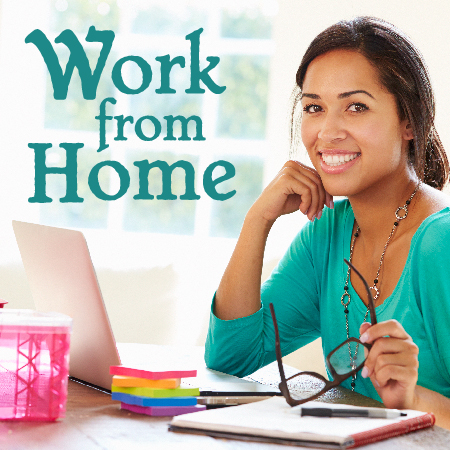 Work from Home - photo of happy person sitting at laptop in her kitchen