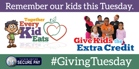 Remember our kids this Tuesday. Together Every Kid Eats. Give Kids the Extra Credit. Contributions accepted through Secure Pay for Giving Tuesday!