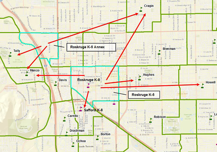 Boundary Options map showing Tully, Manzo, Safford, Howell, Hughes, and Cragin as possible receiving schools