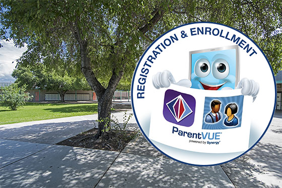 photo of school grounds with Online Registration icon