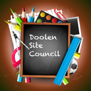Doolen Site Council written on blackboard surrounded by school tools