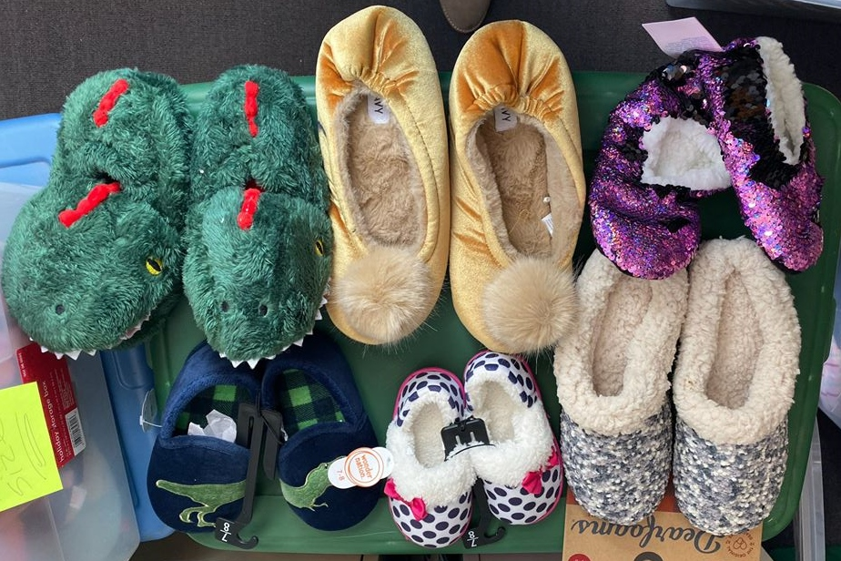 Several pair of slippers