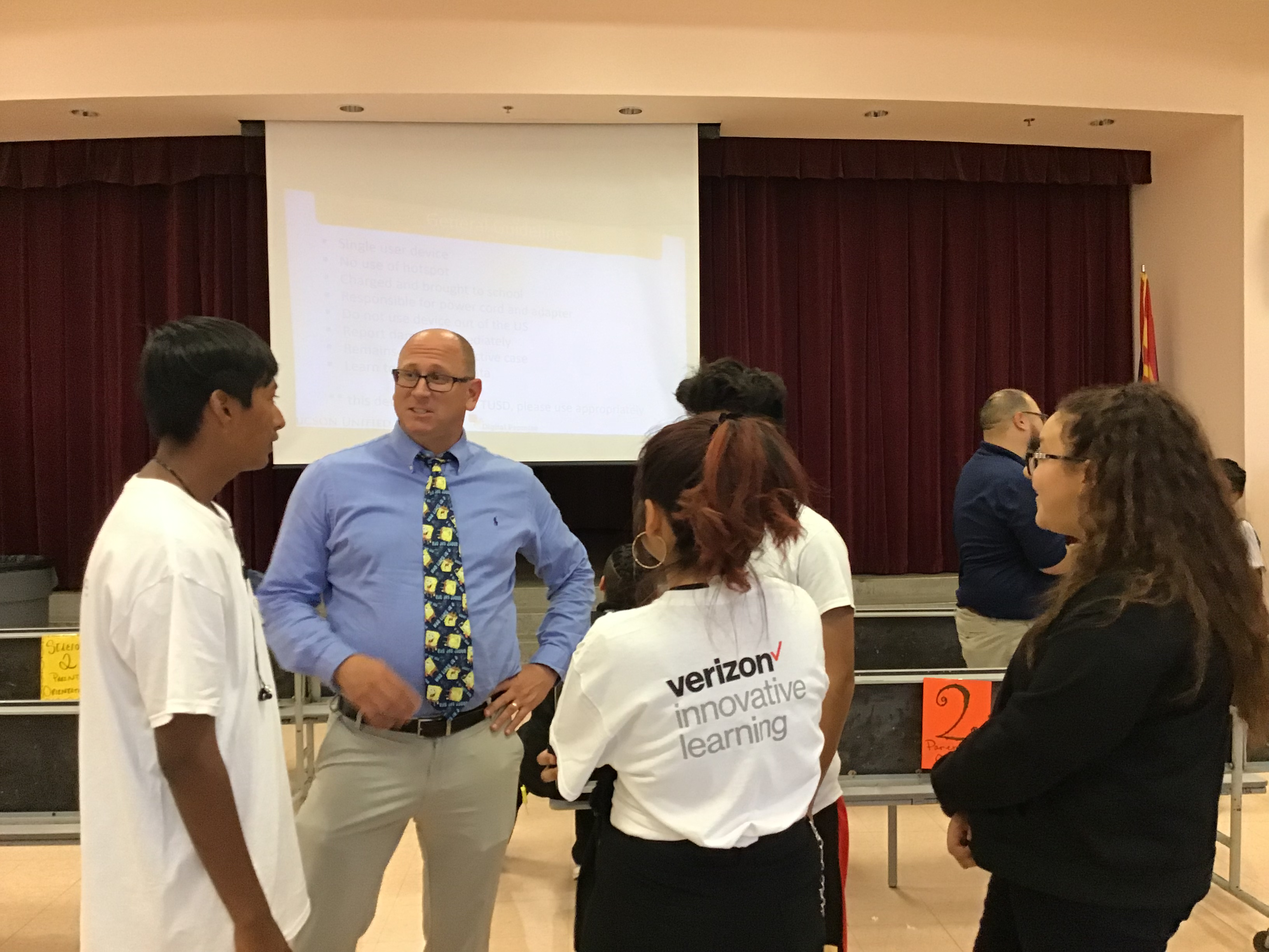 Students apeaking about rollout with Superintendent Brian Lambert. Click for more pictures.