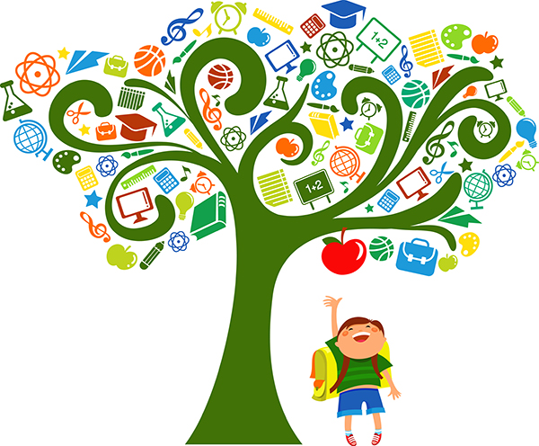 Tree full of educational icons with a boy under it reaching up