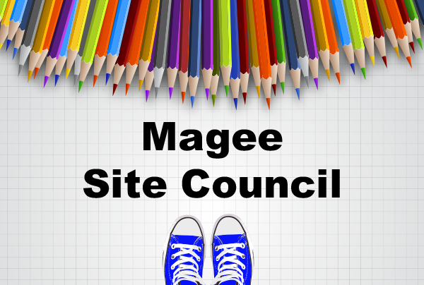 Magee site council with images of sneakers and colored pencils