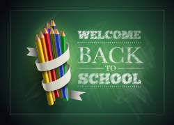WELCOME Back to school with pencil Pack image on a green background