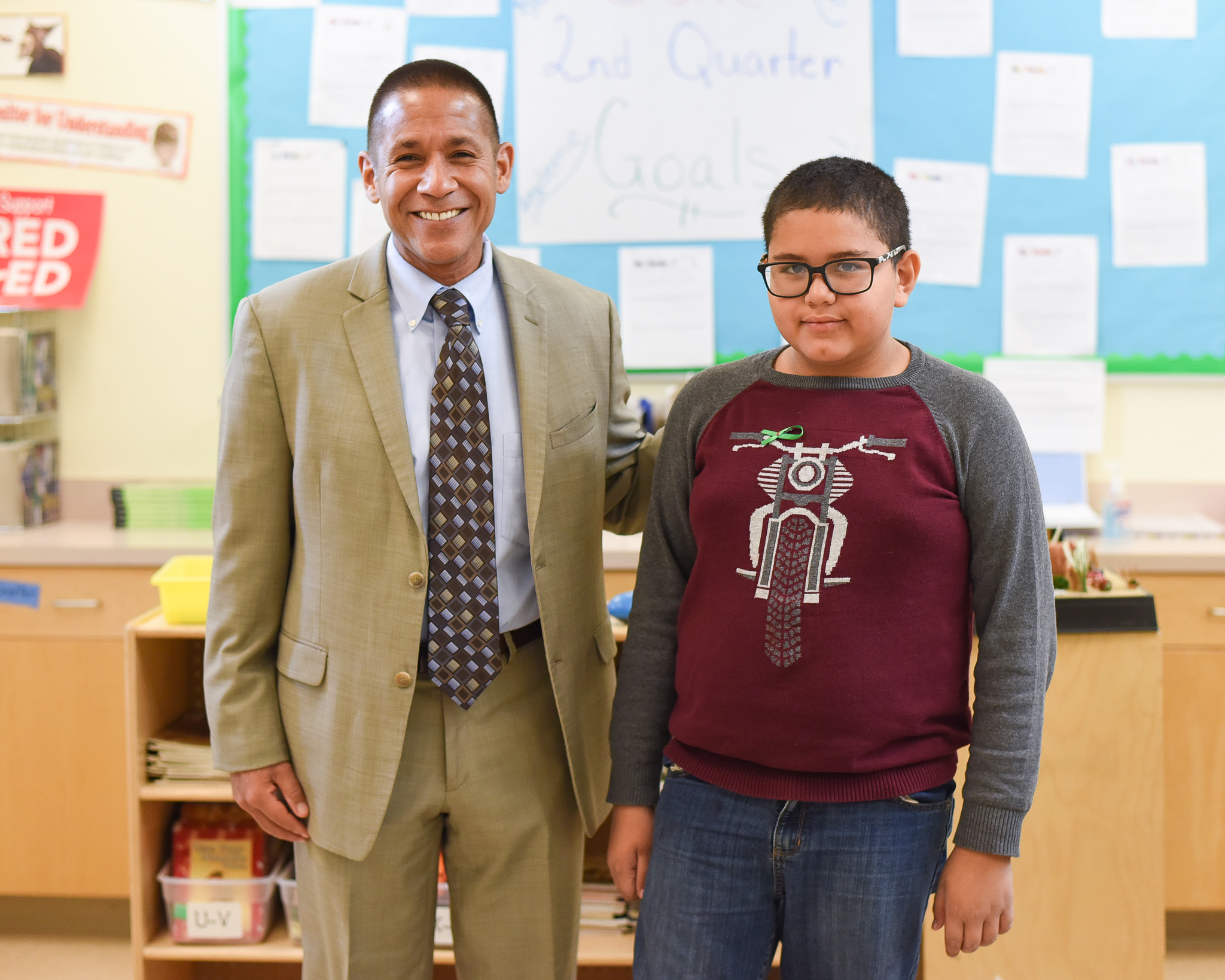 Dr. Trujillo with Maldonado student who received 100% on 3rd Grade math AZ merit