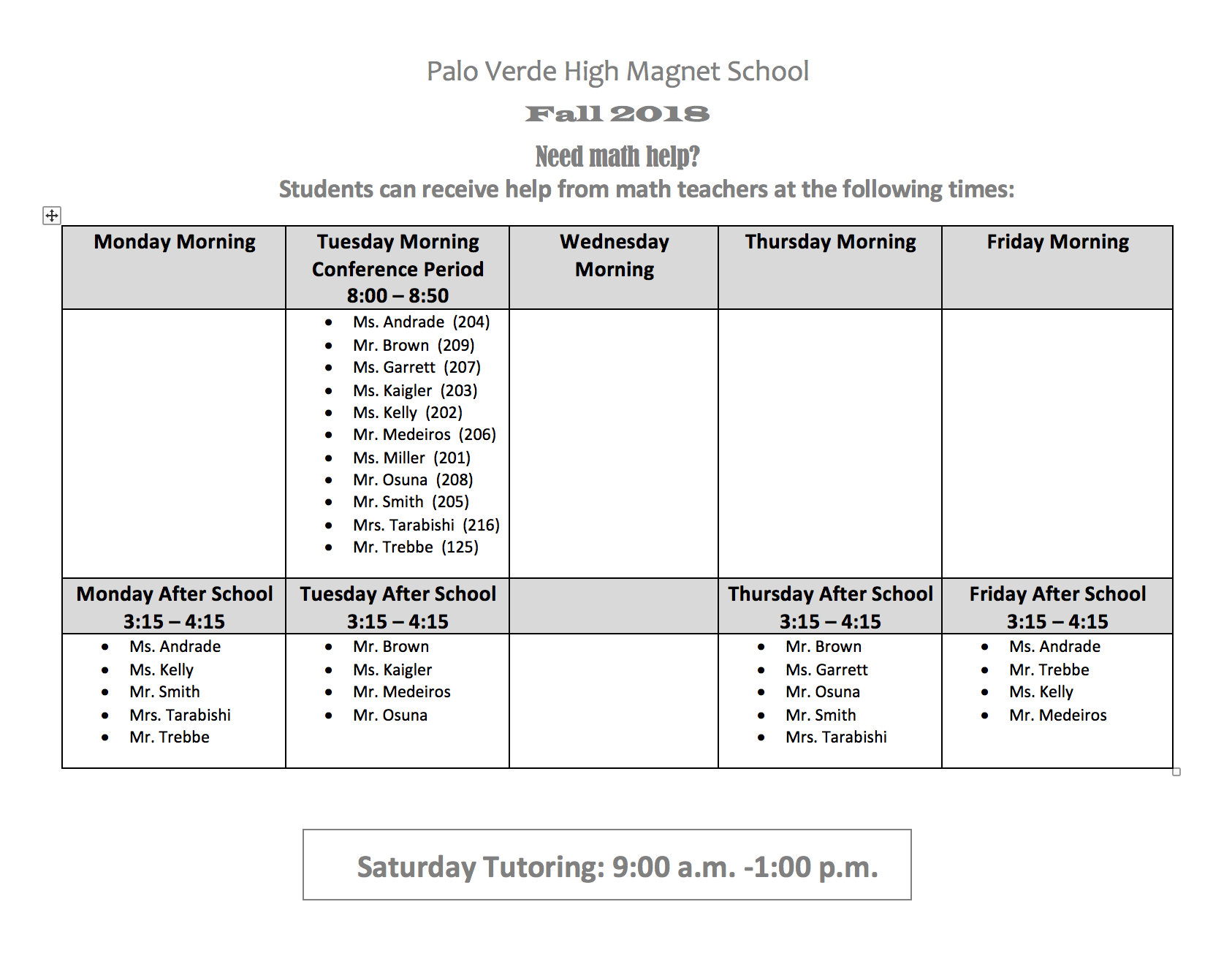 Math Tutoring Schedule