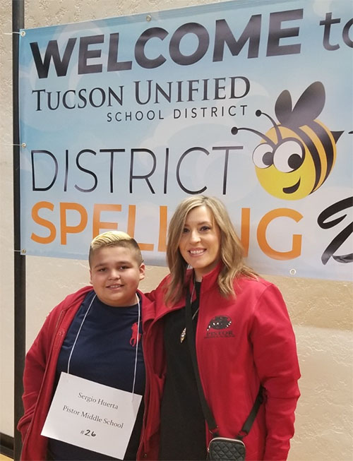 Photo taken of Pistor Student and Staff at District Spelling Bee