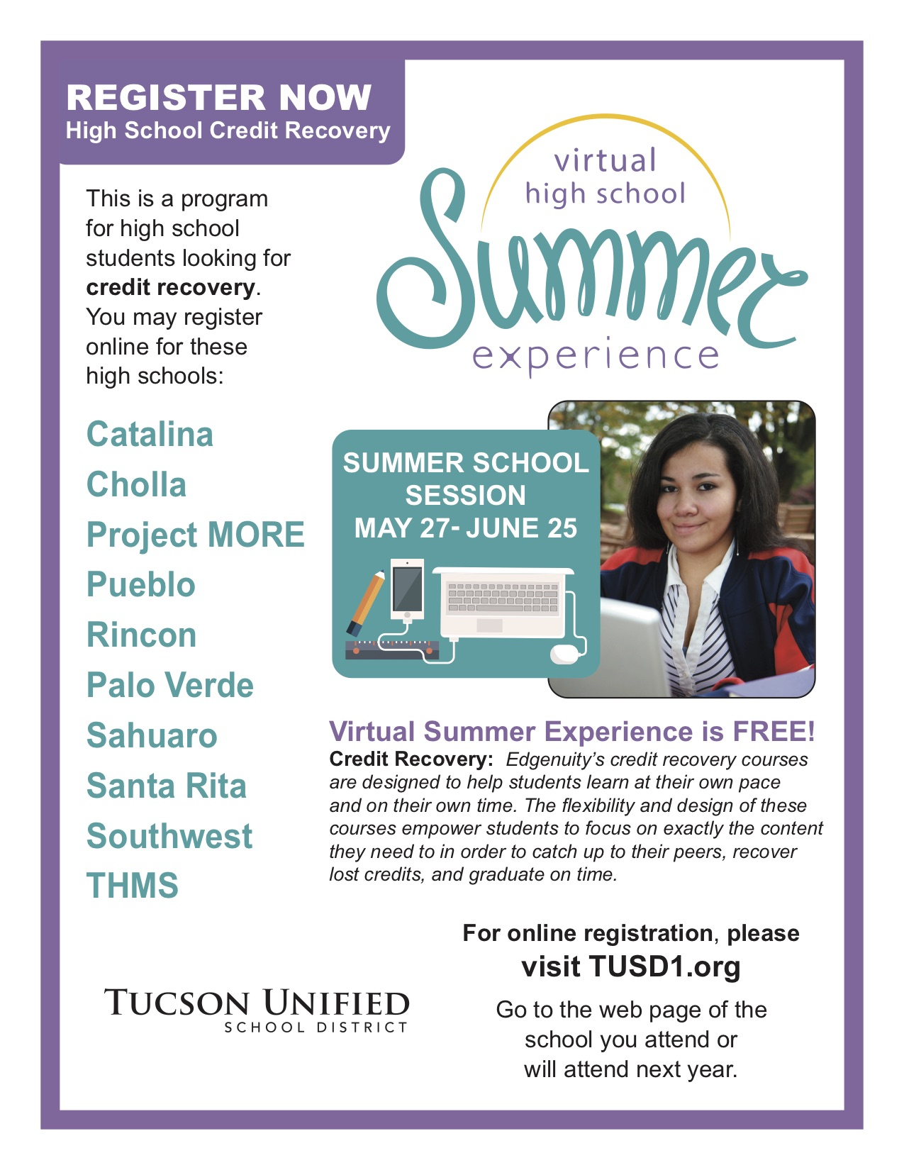 Click on Programs tab for Summer School Info