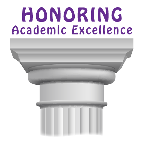 Column with Honoring Academic Excellence written above it