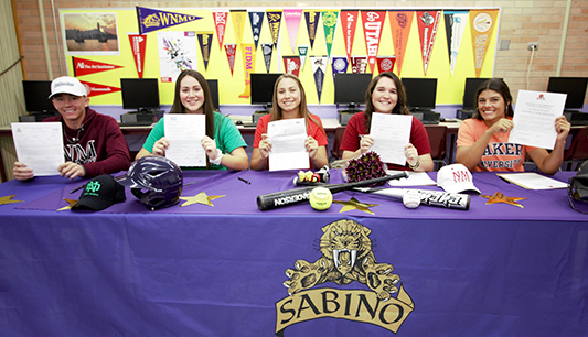 Here's Sabino's athletes that signed their letters of intent today.   Preston Clifford – Baseball at New Mexico State Cassandra Castaneda – Softball at University of North Dakota Hannah Stark – Softball at Southern Oregon University Riley Carley – Softball at New Mexico State University Danielle Kirchhofer – Softball at Baker University
