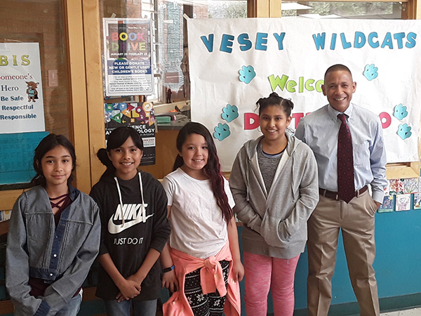 Superintendent Dr. Trujillo with students