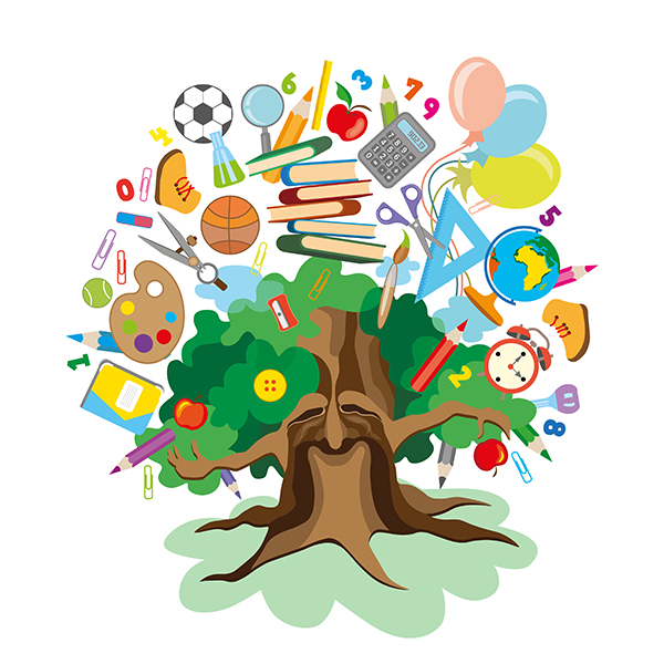 Tree image with educational icons
