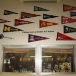 college pennants on wall
