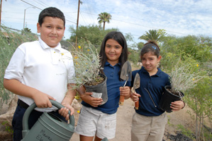 Photo of students gardening