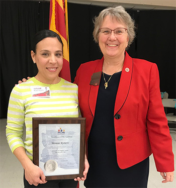 Photo of Ms. Romero with Diane Douglas