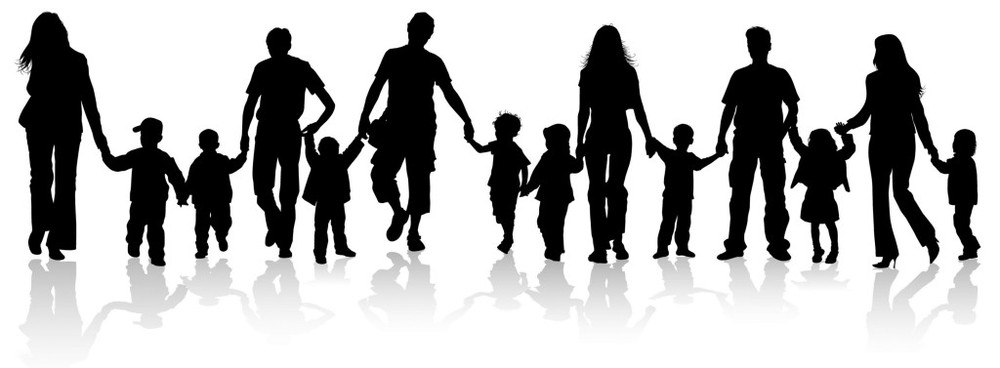 adults and children holding hands