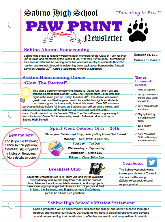 Paw Print Newsletter Link